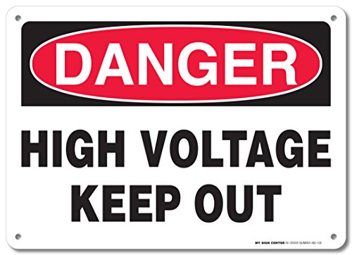 """Danger High Voltage Keep Out Rectangular Electrical Sign by My Sign Center - Rust Free, UV Coated and Weatherproof .040 Aluminum - Rounded Corners and Pre-Drilled Holes - 10"""" x 14"""" - A82-105AL"""