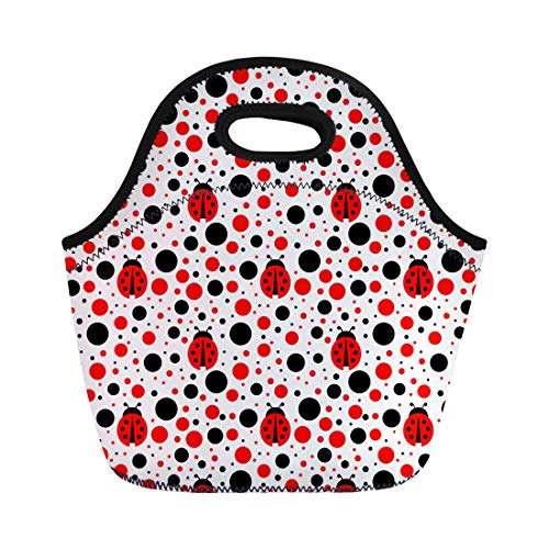 Semtomn Lunch Tote Bag Blue Bug Ladybug Red Lady Pattern Baby Ladybird Abstract Reusable Neoprene Insulated Thermal Outdoor Picnic Lunchbox for Men - Bug Lunch
