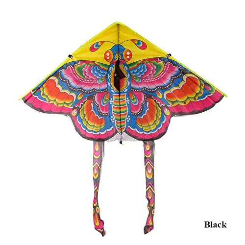 Ownsig Light Weight Beautiful Kite with Chinese Classic Traditional Butterfly Pattern(NO String)90cm Black Tail