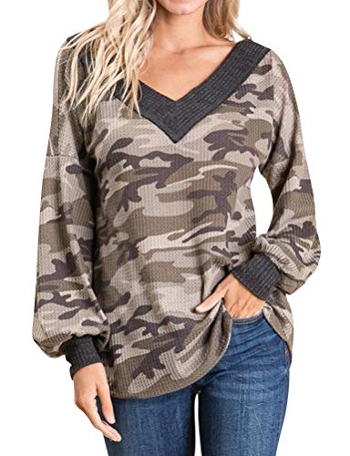 MYMORE Women V Neck Camouflage Print Shirts Lantern Sleeve Baggy Slouchy Tops Blouse