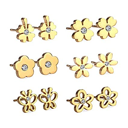 a687e8f74cfa Amazon.com  TTO Stud Earrings 6pairs Boxes Earring Sets Stainless ...