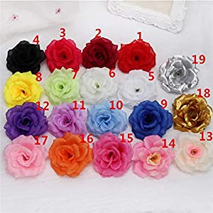 5PCS Artificial Silk Roses Flower Heads for Flower Wall Flower Pillar DIY Wedding Home Decoration Formal Event Bouquets Centerpieces Party Table Decorations 8CM 94