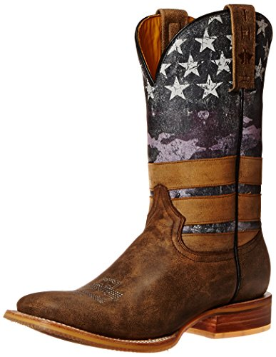 Tin Haul Shoes Women's American Woman Western Boot, Brown/Navy, 10.5 M US