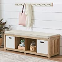 Better Homes and Gardens 4-Cube Storage Organizer Bench - Weathered