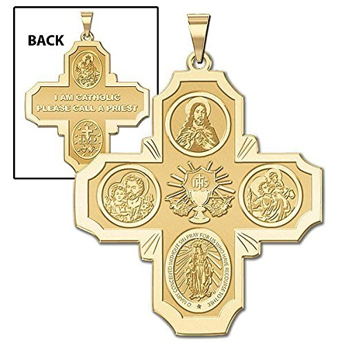 PicturesOnGold.com Communion Four Way Religious Medal - 3/4 Inch X 3/4 Inch - Sterling Silver