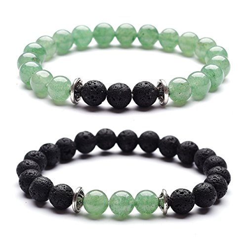- Domika Green Aventurine & Lava Rock Stone Healing Eessential Oil Diffuser Stretch Bracelets for Couples