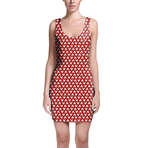 Mickey Polka Dots Red Bodycon Dress Kleider XS - 3XL