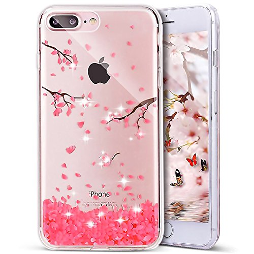 Crystal Bling Case Cover - iPhone 8 Plus Case,iPhone 7 Plus Case, PHEZEN iPhone 7 Plus TPU Case Luxury Bling Diamond Crystal Clear Soft TPU Silicone Back Cover with Cute Pattern for 5.5 inch iPhone 7 Plus, Cherry blossoms