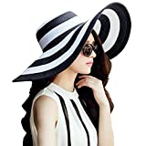 Womens Big Bowknot Straw Hat Floppy Foldable Roll up Beach Cap Sun Hat UPF 50+ (White-Black 1)