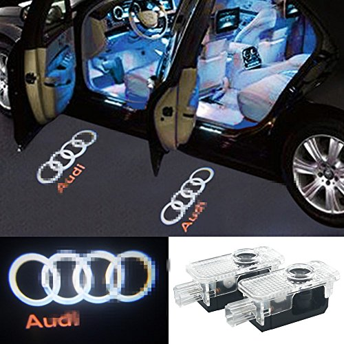 2 Pcs Audi Car Door LED Logo Light Laser Projector Lights Ghost Shadow Welcome Lamp Easy Installation for Audi A3 A4 B5 B6 B7 B8 A6 C5 C6 A5 TT Q7 A4L A1 A7 R8 A6L Q3 A8 A8L (Projector Shadow Light)