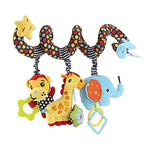 - Q Dream Baby Activity Spiral Crib Toys Stroller Toys Car Seat Educational Toys- Donkey Elephant Monkey Plush Toys with Ring Bell, Sound Paper, BB Squeaker Design