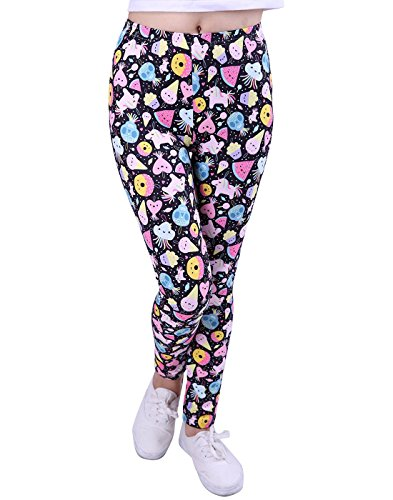 HDE Girl's Leggings 3 Pack with Print Designs Full Ankle Length Kids Pants 3-11Y by HDE (Image #2)
