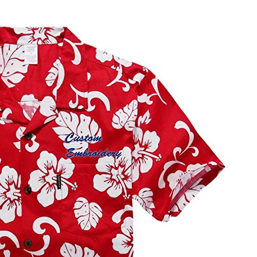 Hibiscus Embroidery (Custom Embroidery Men's Hwaiian Shirt Aloha Shrit (S, Red Hibiscus Custom Embroidery))