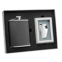 Visol Ano Black Leather Flask and Bot Silver Torch Flame Lighter Set