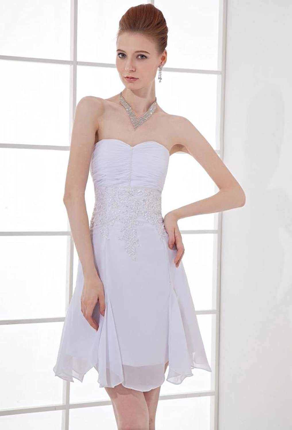 Dramatic mini sweetheart sleeveless white chiffon evening dress TY