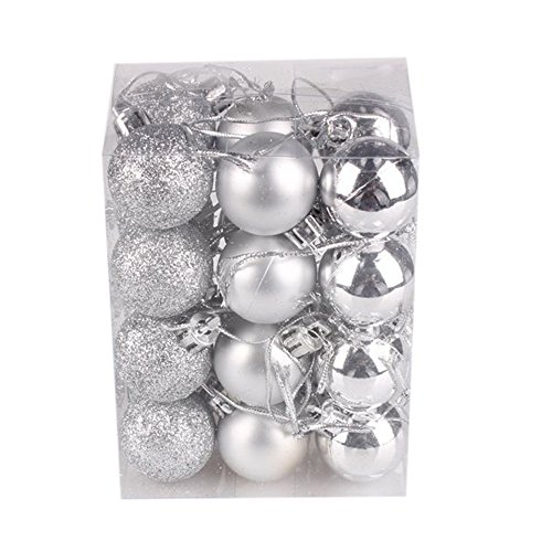 ZYEE 30mm Christmas Xmas Tree Ball Bauble Hanging Home Party Ornament Decor (24PC, Silver) -