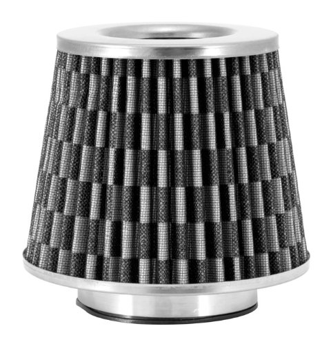Spectre Performance 8129 Universal Clamp-On Air Filter: Round Tapered; 3.5 in (89 mm) Flange ID; 5.75 in (146 mm) Height; 6 in (152 mm) Base; 4.625 in (117 mm) Top ()