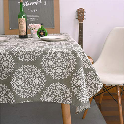 Sunm Boutique Grey Medallion Tablecloth Cotton Linen Tablecloth for Dinner Picnic Table Cloth Home Decorative - Medallion Table
