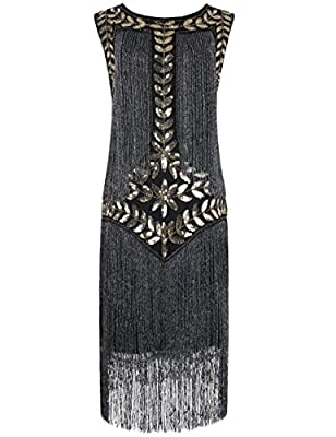 PrettyGuide Women's 1920s Vintage Sequin Full Fringed Deco Inspired Flapper Dress