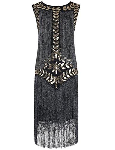 (PrettyGuide Women's 1920s Vintage Sequin Full Fringed Deco Inspired Flapper Dress L)
