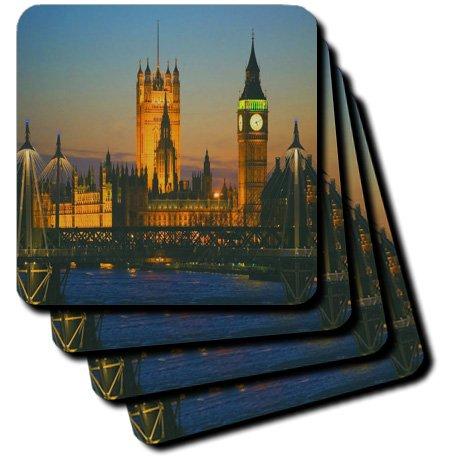 3dRose cst_66293_3 Big Ben, London, England Dusk Ceramic Tile Coasters, Set of 4