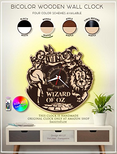 The Wizard of Oz Wooden Clock. Modern Bicolor Clock. Kids Room D?cor. Handmade Wall Clock -