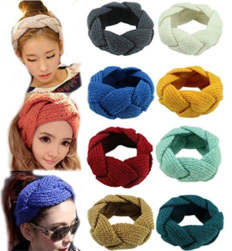 Flyusa Women's Winter Wool Knitted Twist Braid Pattern Headband Ear Warmer Head Wrap Wide Hair Accessories(Black)