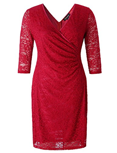 Chicwe Women's Plus Size Stretch Floral Lace Wrap Dress with Ruched Detailing - Knee Length Casual Party Cocktail Dress 1X by Chicwe