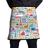 Travel Related Famous Elements Restaurant Cooking Kitchen Half Body Waist Aprons Sewing Pocket Apron