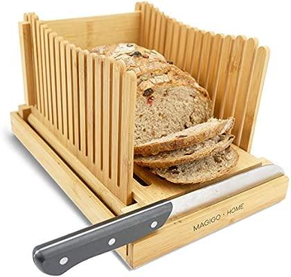 MAGIGO Nature - Cortador de pan plegable de bambú con bandeja ...