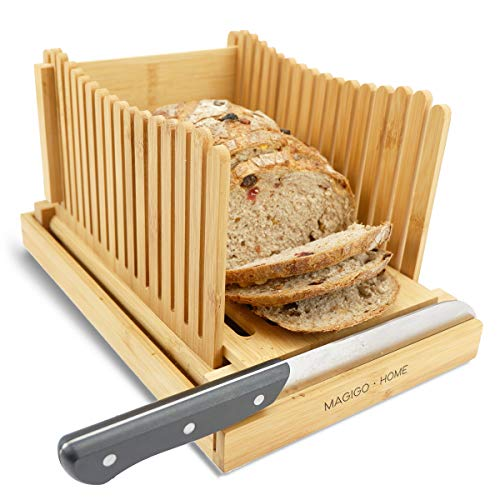 MAGIGO Nature Bamboo Foldable Bread Slicer with Crumb Catcher Tray, Bread Slicing Guide and Knife Rest for Homemade Bread & Loaf Cakes, Thickness Adjustable, Contains 20 Bread Bags & 20 Twist Ties.