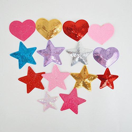 14 pcs, forma de corazón de estrellas con purpurina lentejuelas parches Applique Set: Amazon.es: Juguetes y juegos