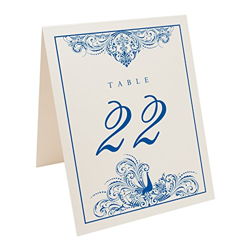 Documents and Designs Peacock Flourish Table Numbers (Select Color/Quantity), Champagne, Royal Blue, 1-20 ()