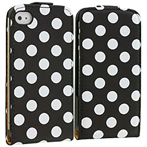 Accessory Planet(TM) Polka Dot Black Wallet Pouch Case Cover Holder Accessory for Apple iPhone 4 / 4S