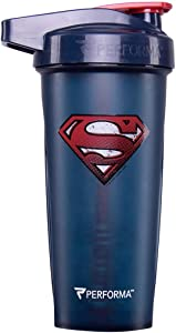 PerfectShaker Performa ACTIV DC Comics & Justice League Series Shaker Bottle, Best Leak Free Bottle with ActionRod Mixing Technology for Your Sports & Fitness Needs! (28oz, Superman)