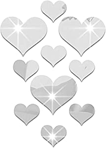 Ruipunuosi 10pcs 3D Acrylic Heart-Shaped Mirror Delicate Wall Stickers Plastic Removable Decor Wall Poster Living Room Bedroom Bathroom Home Decoration