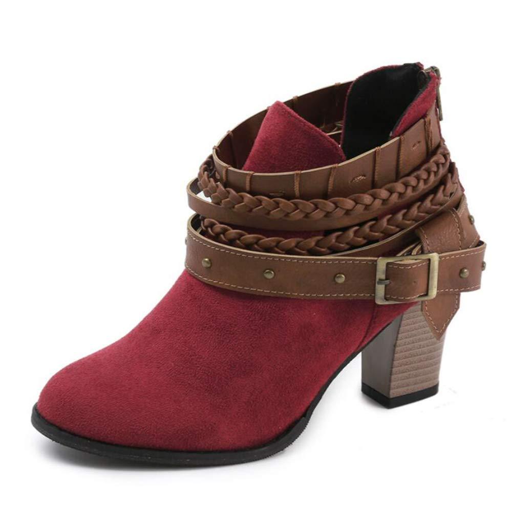 KUKI Botas De Otoño De Las Mujeres De Gran Tamaño Botas De Mujer Gruesa con Botas Cortas De Metal Cinturón Hebilla De Las Mujeres Botas,Red,UK8/EUR42UK8/EUR42|Red
