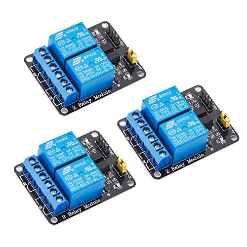 MCIGICM 2 Channel DC 5V Relay Module for Arduino UNO R3 DSP ARM PIC AVR STM32 Raspberry Pi with Optocoupler Low Level Trigger Expansion Board (2 Channel, 3 Pack)