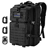Tactical Backpack - Hannibal Tactical 36L MOLLE Assault Backpack, Tactical Backpack Military Army Camping Rucksack, 3-Day Pack Trip w/USA Flag Patch, D-Rings, Black