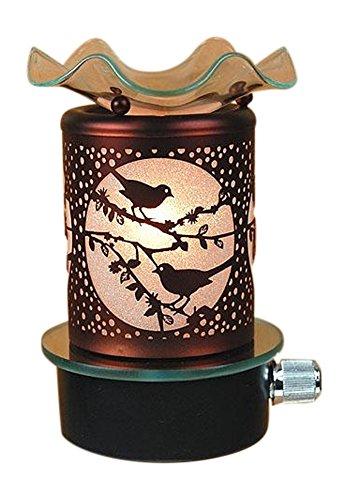 L&V Electric Metal Plug In Night Light Tart Burner Oil Warmer Night Light Bird Birds Design