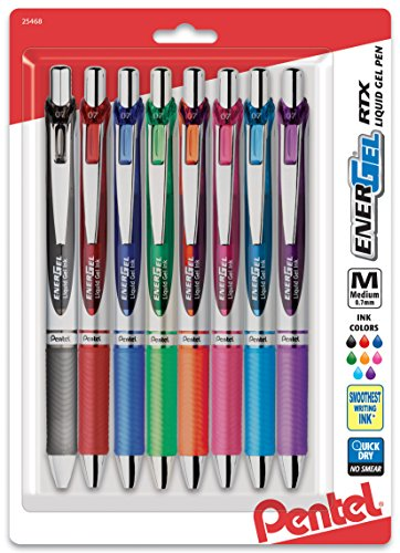 Pentel EnerGel RTX Retractable Liquid Gel Pen, Medium Line, Metal Tip, Assorted Ink, 8-Pack (BL77BP8M) (Pentel Metal Energel Retractable)