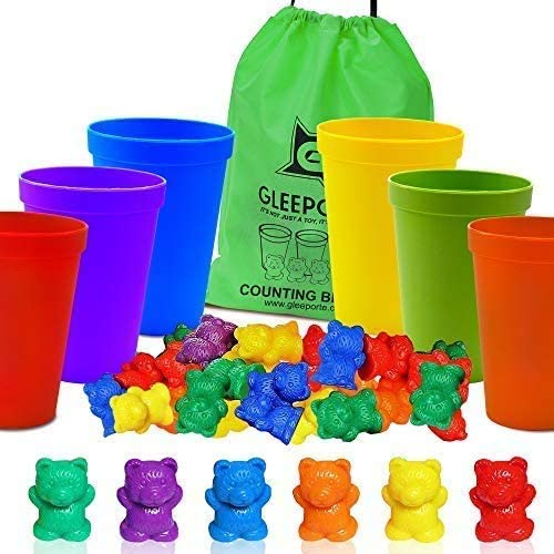 Gleeporte Counting BearsCoordinated Sorting Cups | Sorting Math Skills | (67 Pcs Set) | 60 Bears | 6 Cups | Storage Bag Ages 4+