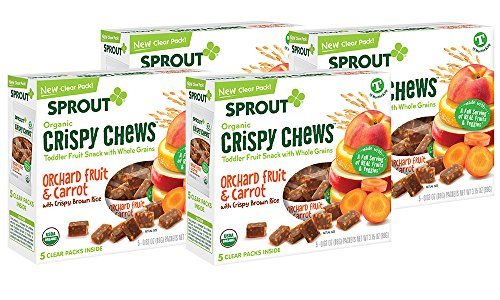 Sprout Organic Baby Food, Sprout Crispy Chews Organic Toddler Snacks, Orchard Fruit and Carrot 4 pack case of 20 Crispy Chews (4 boxes, 5 packets per (Sprout Organic Toddler Meal)