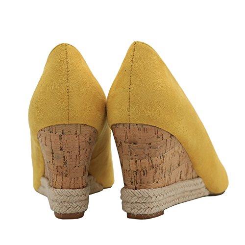 EKS - Tacón de cuña Mujer Amarillo - Gelb-Wildleder