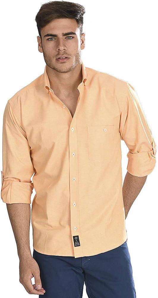 Camisa Oxford Manga Larga de Hombre en Naranja - 4_L, Naranja: Amazon.es: Ropa y accesorios