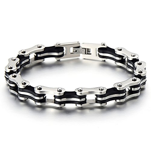 COOLSTEELANDBEYOND Masculine Mens Bike Chain Bracelet of Stainless Steel and Black Rubber Silver Black Two-Tone Polished