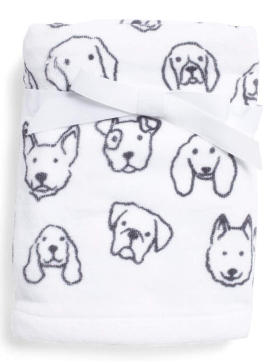 Casaba Dog Print Hand Towels and Washcloth Set of 6 Black and White Animal Print Cotton by Casaba