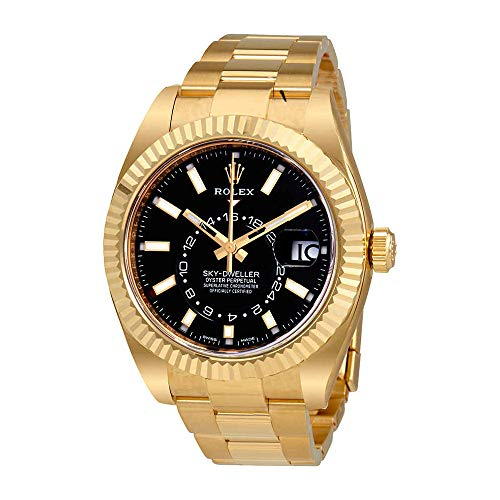 Rolex Sky-Dweller Black Dial Automatic Men's 18kt Yellow Gold Oyster Watch 326938CSO