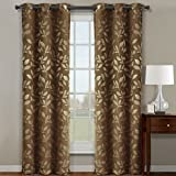Pair of Two Top Grommet Claire Micro Suede Jacquard Blackout Weave Thermal Insulated Curtain Panels, Elegant &Contemporary Claire Blackout Panels, Set of Two Cafe 36″ by 84″ Panels (72″ by 84″ Pair) For Sale
