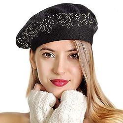 Rhinestones 2 Layers Wool French Hat In Black